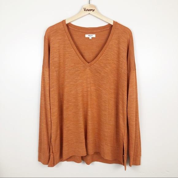 Madewell Tops - Madewell l Orange Oversized Long Sleeve Tee M
